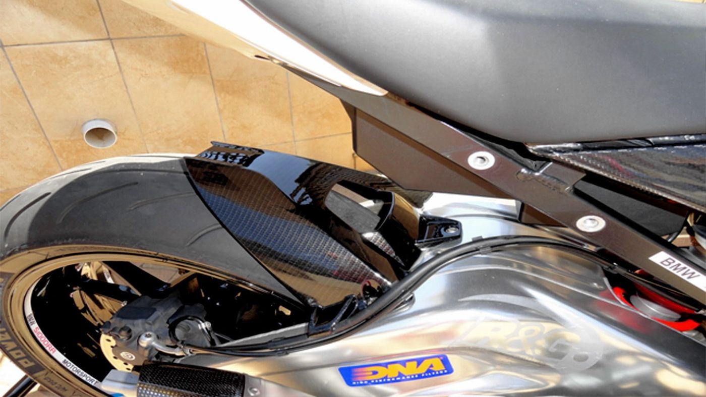 BMW Super Bike Parts - Hydro dipped with Silver Carbon Fibre finish