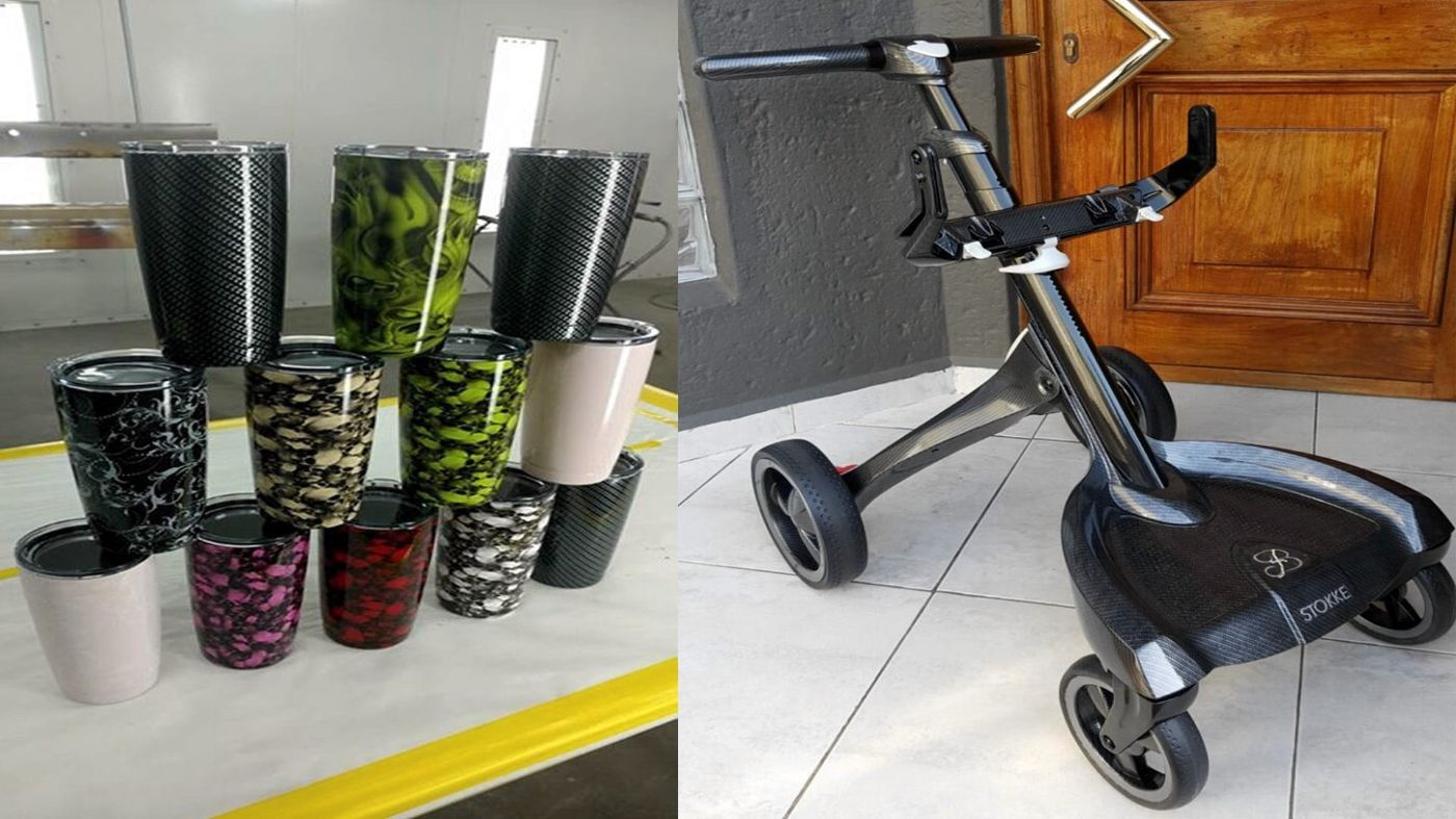 Cups And Pram - Hydro dipped with several types of film
